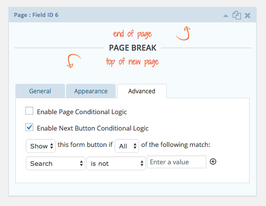Page break conditional logic
